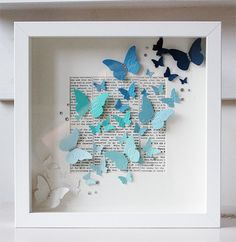 ideas for diy paper butterflies wall shadow box Butterfly Wall Art, Paper Butterflies, Paper Flowers, Paper Butterfly Crafts, Butterfly Gifts, Diy Paper, Paper Crafting, Paper Art, Creation Deco
