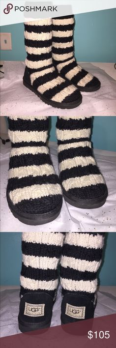 Ugg knit boots Black & white. Very cute and in excellent condition! Size 6. UGG Shoes Winter & Rain Boots