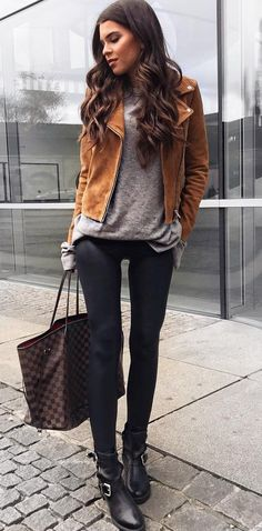 #winter #outfits /  Camel Jacket // Grey Knit // Black Leggings // Leather Booties // Checked Tote Bag