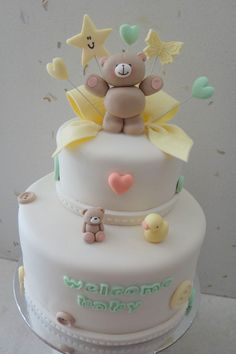 Forever Friends baby shower / gender reveal cake. All figurines are made of fondant & gum paste Cake Central