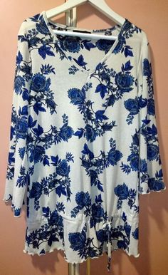Lovely Blouse in blue color flowers in size S #Lindex #Blouse #Casual