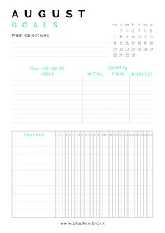 Monthly Goals Planner free printable, now August! Get your free monthly planner and achieve anything this month. Plus get your free desktop calendar!