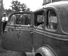 Bonnie and Clyde's car after they were killed. May 23,1934.