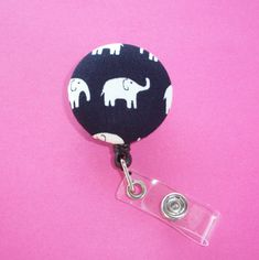 Retractable ID Badge Holder  Fabric Button   black and by Laa766 chic / cute / preppy / fabric / patterned / accessories / for you, co-worker or school gifts / home, office decor