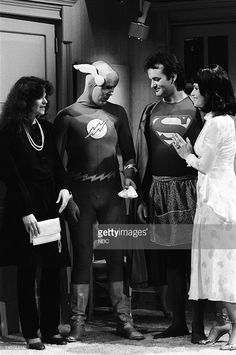 Gilda Radner as Beverly, Dan Aykroyd as The Flash, Bill Murray as Superman, Margot Kidder as Lois Lane during the 'Lois Lane' skit on March 17, 1979 --