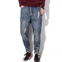 >> Click to Buy << 2017 Fashion New Washed Men's Distressed Ripped Jeans Denim Harem Pants Vintage Holes #Affiliate