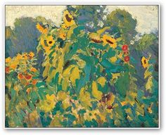 size: Stretched Canvas Print: Sunflowers, Thornhill Canvas Art by J. MacDonald : Using advanced technology, we print the image directly onto canvas, stretch it onto support bars, and finish it with hand-painted edges and a protective coating. Group Of Seven Art, Group Of Seven Paintings, Tom Thomson, Emily Carr, Canadian Painters, Canadian Artists, Framed Artwork, Wall Art, Painting Edges