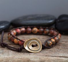 MENS Beaded Leather  Bracelet on Brown Leather  by PJsPrettys, $21.95