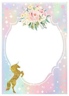 Unicorn Birthday Invitations, Diy Invitations, Unicorn Birthday Parties, Unicorn Backgrounds, Unicorn Pictures, Invitation Background, Unicorn Baby Shower, Unicorns And Mermaids, Unicorn Art