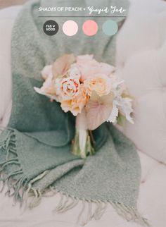 Shades of peach and grayed jade wedding   http://www.fabmood.com/peach-grayed-jade-wedding-colour-palette/