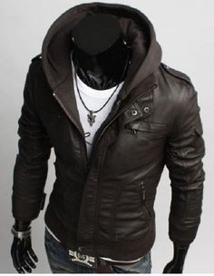 Leather Skin Men Black Hooded Hood Leather Jacket with Soft shell Sleeves