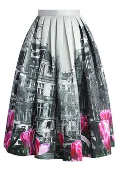 Tulip Town Contrast Print Pleated Midi Skirt - New Arrivals - Retro, Indie and Unique Fashion