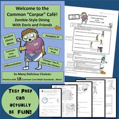 "Test prep can actually be FUN!  Welcome to the Zombie Common ""Corpse"" Café! Student choice menu - perfect for differentiation. This resource provides students with engaging practice for 18 common core  middle school math standards, including 8.G.1,2,3,4,5...wow! My students love zombies, so this put a fun spin on test prep.  Available at the TpT store, Piece of Pi.  $"