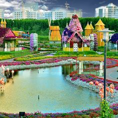 Inside Dubai Miracle Garden is a garden consisting of 150 million flowers arranged in colorful different designs. Million Flowers, Grab The Opportunity, Miracle Garden, Most Beautiful Gardens, Best Hotels, Amazing Hotels, Botanical Gardens, Dubai, Cute Animals