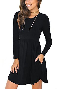 0e96fc51ea1 IWOLLENCE Women s Sleeveless Long Sleeve Loose Plain Dresses Casual Short  Dress with Pockets Dress Outfits