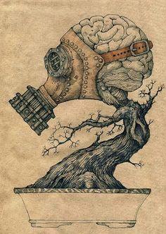Gas mask brain bonsai