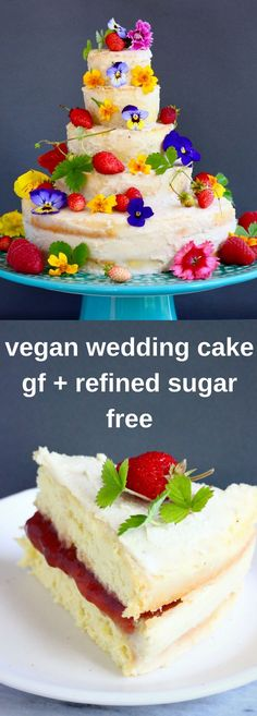 This Gluten-Free Vegan Wedding Cake is easy to make, deceptively impressive and seriously delicious. Perfect for summer weddings. A simple vanilla sponge cake with a delicate white chocolate buttercream and strawberry jam. Dairy-free, refined sugar free and egg-free. #vegan #summer #wedding #cake #glutenfree #eggfree #refinedsugarfree