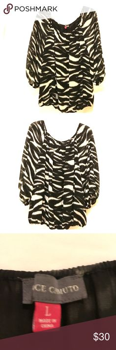Vince Camuto Blouse Stunning zebra print blouse, lined, & in perfect condition Vince Camuto Tops Blouses