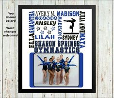 personalized gymnastics gifts / gymnastic team gift / gymnastic team award / gymnastics decor / sports photo gift / end of season gift