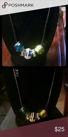 {ES} Blue Green Bead Necklace Beautiful blue and green glassy beads on a black cord chain. Made by me Jewelry Necklaces
