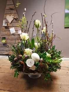 Items similar to Spring arrangement, easter decor, spring arrangement, centerpiece on Etsy Easter Flower Arrangements, Easter Flowers, Spring Flowers, Floral Arrangements, Deco Floral, Easter Table, Easter Wreaths, Easter Crafts, Flower Decorations