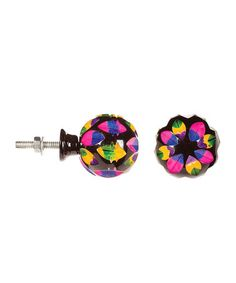 Another great find on #zulily! Pink & Yellow Kaleidoscope Carved Bone Knob - Set of Two #zulilyfinds