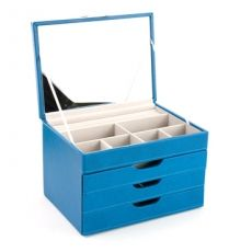 Davidts Euclide Faux Leather Mid Blue Medium Three Draw Jewellery Box