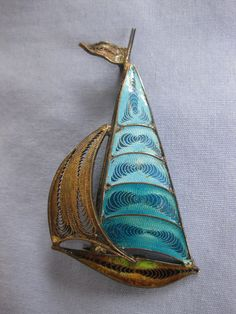 Plique a Jour Sterling Silver Sailboat Brooch
