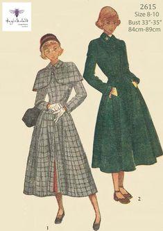 Coat Pattern Sewing, Cape Pattern, Coat Patterns, Vintage Sewing Patterns, Dress Patterns, Peter Pan, 1940s Fashion, Vintage Fashion, Patron Vintage