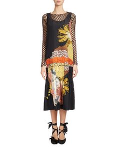 Decai+Floral-Print+Midi+Dress,+Black+by+Dries+Van+Noten+at+Bergdorf+Goodman.