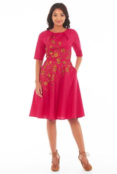 Floral embellished pleat neck stretch poplin dress #eShakti
