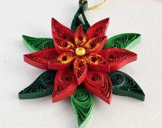 Poinsettia Christmas tree decoration, Holiday ornament, Christmas decoration, Christmas ornament, Paper quilling decoration, Christmas decor