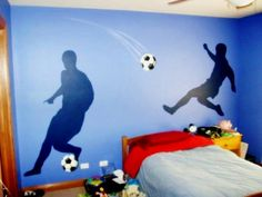soccer-bedroom-decor-Luke would love! Boys Soccer Bedroom, Soccer Room Decor, Football Bedroom, Boys Bedroom Paint, Boys Bedroom Decor, Bedroom Themes, Bedroom Ideas, Guy Bedroom, Bedroom Wall