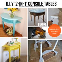 Creativity is the magic that transforms ordinary things into works of art and these DIY creative ideas will ensure that your home is a masterpiece museum. Furniture Makeover, Diy Furniture, Deco Dyi, Half Table, Diy Casa, Creative Home, Creative Ideas, Home Projects, Painted Furniture