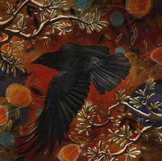 Catherine Lemaitre Earle - 'Fate of Destiny' -acrylic 30 x 30 The Art Spirit Gallery of Fine Art Blackbird Singing, Quoth The Raven, Jackdaw, Bird Art, Crow Art, Crows Ravens, All Birds, Glass Birds, Sculpture