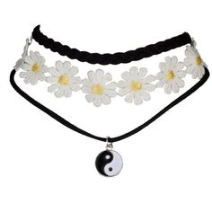 Lux Accessories Peace Sign Sunflower Flower Floral Fabric Choker... ($9.99) ❤ liked on Polyvore