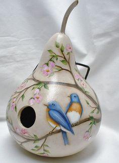 Blue Bird and Cherry Blossom Pumpkin Bird House – Hand Painted Pumpkin – … - Handmade Decorative Gourds, Hand Painted Gourds, Painted Pumpkins, Fall Crafts, Diy And Crafts, Arts And Crafts, Gourds Birdhouse, Gourd Art, Bird Houses