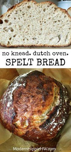 No Knead Dutch Oven Spelt Bread — Modern Hippie Health & Wellness Inc. Spelt Recipes, Artisan Bread Recipes, Dutch Oven Recipes, Almond Flour Recipes, Mug Recipes, Snack Recipes, Coconut Flour, Healthy Recipes, Almond Milk