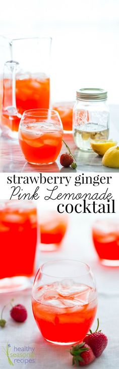 """Strawberry Infused Vodka with Ginger Simple Syrup and Homemade lemonade make these Strawberry Ginger Pink Lemonade Cocktails worthy of """"signature cocktail"""" status! On Healthy Seasonal Recipes by Katie Webster."""