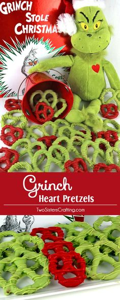 Grinch Heart Pretzels - you'll need pretzels and candy melts to make these sweet and salty Grinch Christmas treats. They are a cute and easy to make Christmas Treat that is perfect for a How the Grinch Stole Christmas family movie night. The kids will love to help make this Grinchy Christmas Dessert. Pin this adorable Christmas Candy for later and follow us for more fun Christmas Food Ideas.
