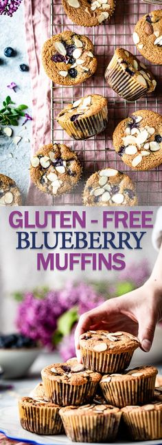 These maple sweetened and easy to make gluten-free blueberry muffins are crispy on the outside and moist on the inside Loaded fresh blueberries but can be made with frozen fruit as well Gluten Free Blueberry Muffins, Almond Flour Muffins, Baking With Almond Flour, Blueberry Recipes, Blue Berry Muffins, Muffins Double Chocolat, Calories In Blueberries, Gluten Free Baking, Healthy Baking