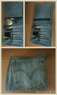 Recycled jeans make up pouch