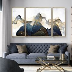 3 pieces Original Gold line black Mountain art Acrylic Painting Abstract painting On Canvas set of 3 Wall Art home Decor cuadros abstractos Large Painting, Painting Frames, Painting Abstract, Home Decor Wall Art, Room Decor, Mountain Art, Black Mountain, Room Interior, Interior Design