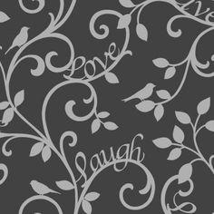 Fine Decor Live Love Laugh Scroll Wallpaper Black / Silver - Fine Decor from I love wallpaper UK