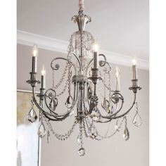 Delphine 6-Light Chandelier (€820) ❤ liked on Polyvore featuring home, lighting, ceiling lights, hanging chain lights, chain lamp, 6 arm chandelier, chain lighting and hanging chain lamps