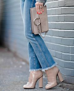 New Denim Obsession: Cropped Flare Jeans ---- Madewell High Rise Ankle Bootcut Jeans (Essex Wash) GUCCI Horsebit-detailed leather ankle boots Chloe Faye Small Suede and Calfskin Clutch