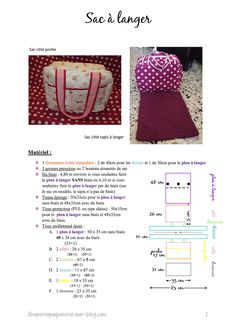 Diaper bag tutorial a little packet Baby Couture, Couture Sewing, Diaper Bag Tutorials, Sewing Online, Diy Handbag, Creation Couture, Camping Gifts, Fabric Bags, Pattern Drafting