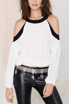 Cold Shoulder Back and White Contrast Color Long Sleeves Blouse Top from mobile - US$25.95 -YOINS
