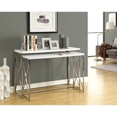 @Overstock - Decorate your home with this attractive finished furniture. This table set features wood and metal construction for long-lasting good looks.  http://www.overstock.com/Home-Garden/Glossy-White-Chrome-Metal-2-piece-Console-Table-Set/6811257/product.html?CID=214117 $294.99