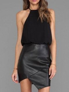 Leather Skirt Dress Black Halter Chiffon Asymmetrical Dress.  Description Leather Skirt Dress Black Halter Chiffon Asymmetrical Dress. Sleeveless short dress that is a perfect dinner or party dress.